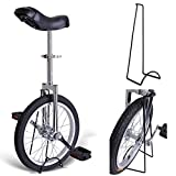 18'' Inches Wheel Skid Proof Tread Pattern Unicycle W/ Stand Uni-Cycle Bike Cycling CHROME