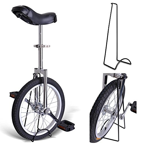 18'' Inches Wheel Skid Proof Tread Pattern Unicycle W/ Stand Uni-Cycle Bike Cycling CHROME by Jamden