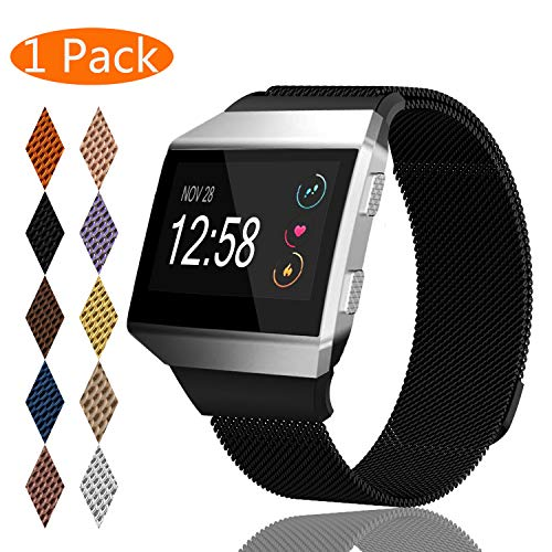 KingAcc Compatible Fitbit Ionic Bands, Milanese Stainless Steel Mesh Metal Replacement Band for Fitbit Ionic, Magnetic Clasp Lock Wristband Strap Women Men (1-Pack, Black, Large)