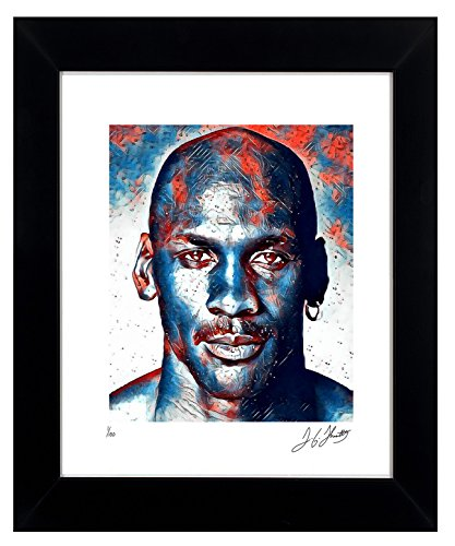 "Artist Signed Framed - Michael Jordan Wall Art 1 of Only 100 Signed By Artist, Gallery Quality Framed Art, Numbered and Signed with Certificate Of Authenticity. Chicago Bulls ""23"" Michael Jordan Collectible MADE IN U.S.A."