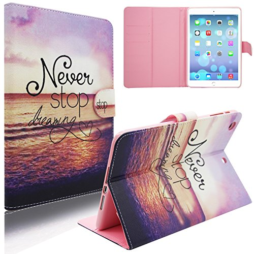 iPad Mini Case, iPad Mini 2/3 Case, Dteck(TM) Cartoon Cute Flip Folio Stand PU Leather Case with Cards Slots Full Body Protective Magnetic Cover for Apple iPad Mini 3 2 1 (01 Never Stop)