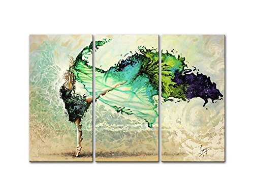 Canvas Print Wall Art Paintings Ballet Ballerina Like Butterfly In Color Hand Painted Style 3 Pieces Panel Modern Framed Artwork The Pictures For Living Room Home Decor Dance Photo Prints On Canvas by So Crazy Art