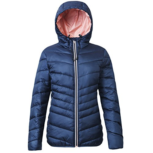 Rokka&Rolla Women's Lightweight Water Resistant Hooded Quilted Poly Padded Puffer Jacket