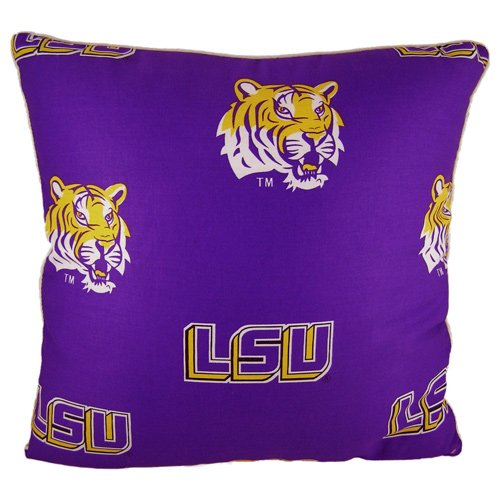 College Covers Louisiana State Tigers 16'' x 16'' Decorative Pillow - (Includes 2 Decorative Pillows) by College Covers