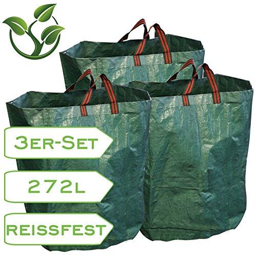 mgc24 3er-Set Gartensack 270 Liter für Laub und Grünschnitt
