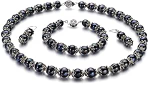 PearlsOnly - MarieAnt Black 8-9mm Freshwater Cultured Pearl Set