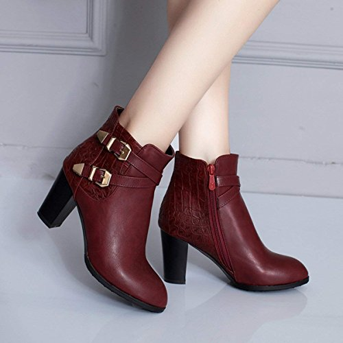 Ankle Block Shoes Heel High Buckle Boots Womens Ladies Wine Vitalo Booties Zip wqSR4gX