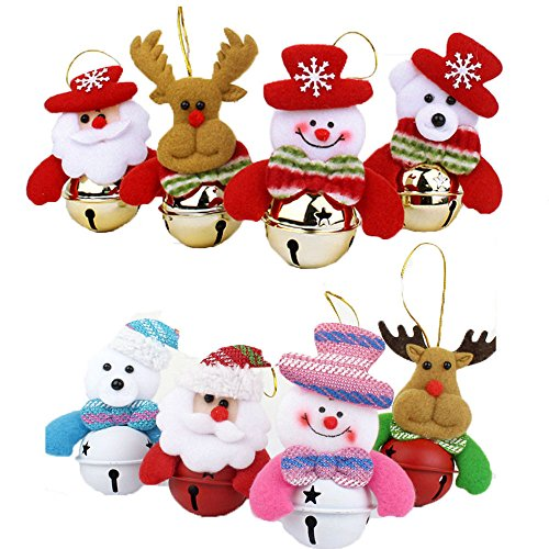 Small Christmas Bell (Christmas Bells Set - Newweic Christmas Decorative Hanging Ornaments with Cute Smile Santa Claus,Deer,Bear Pattern (Pack of 10,Pattern will Sent by Random) (Pack of 10))