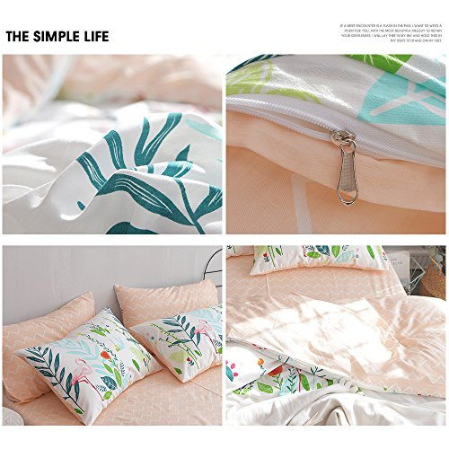 HIGHBUY Cotton Full Comforter Cover for Kids Girls White Peach Floral Flamingo Leave Printing Reversible Fresh Design Queen Bedding Sets for Children Boys with Chevron Stripe Pattern,Zipper Closure by HIGHBUY (Image #6)