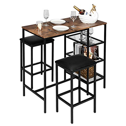 Vingli Bar Table Set 3 Piece Counter Height Dining Set Vintage Pub Dining Set With Storage Shelves Wood Bar Table And 2 Upholstered Stools For Kitchen Bar Living Room Party Room In Dubai