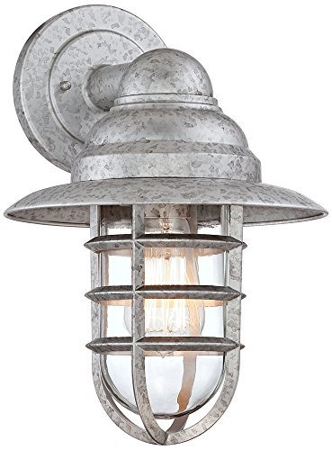 "Marlowe 13 1/4""H Galvanized Hooded Cage Outdoor Wall Light"