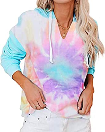 heekpek Sudadera con Capucha Mujer Tie Dye Sudaderas Mujer V Cuello Casual Pullover Hoodie Tops Moda Sweatshirt Camiseta Manga Larga Mujer