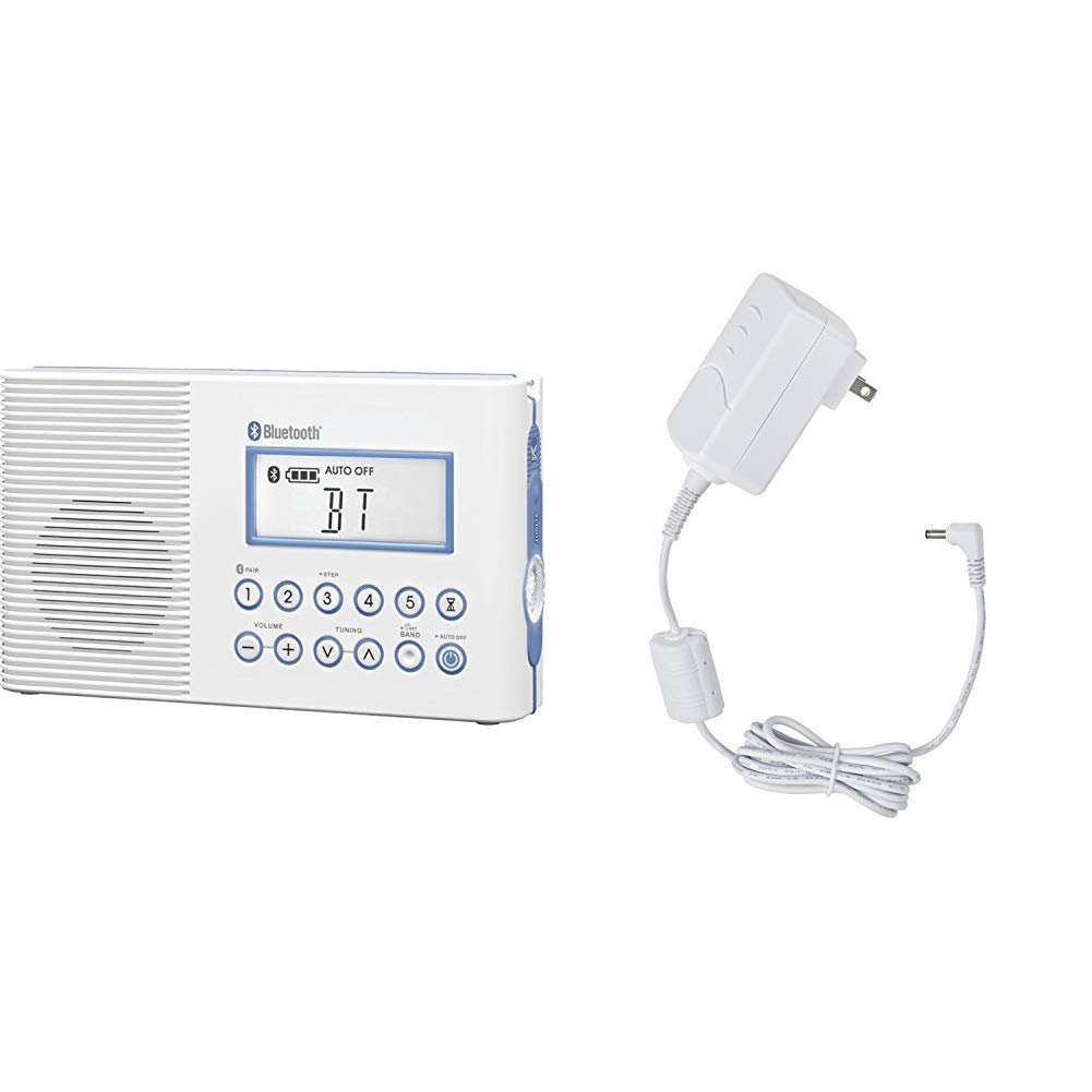 Sangean H202 Portable AM/FM/Weather Alert, Digital Tuning Waterproof Shower Radio with Bluetooth & ADP-H202 Switching Power AC Adapter for Models H201, H202, H205 and H200