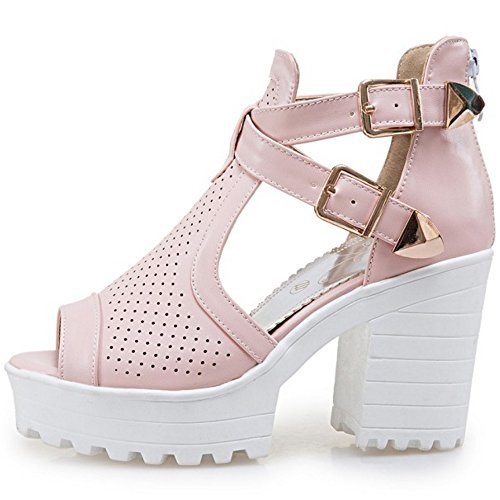COOLCEPT Damen Mode T-Spangen Sandalen Peep Toe Blockabsatz Schuhe Mit Zipper Rosa