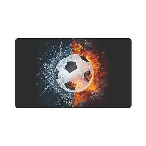 NGZXPMYY Balón de fútbol en Fuego y Agua Alfombra de Entrada ...