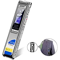Digital Voice Recorder PCM 1536Kbps CENLUX,Sound Audio Recorder,8GB USB Dictaphone for Lectures,Noise Reduction,Voice Activated with MP3 Player,Back Clip,Support Extra TF Card,Metal Case