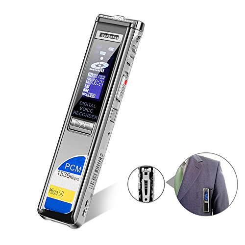 Digital Voice Recorder Pcm 1536Kbps Cenlux Sound Audio Recorder 8Gb Usb Dictaphone For Lectures Noise Reduction Voice Activated With Mp3 Player Back Clip Support Extra Tf Card Metal Case