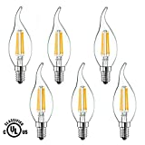40 w type b led - LED Candelabra Bulb, EAGWELL 4W 2700K Warm White 350 LM, 40W Equivalent E12 Base Dimmable LED Candle Bulbs, UL Listed LED Flame Filament Light, 360 Degrees Beam Angle, Pack of 6