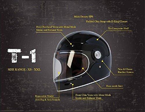 TORC T1 Retro - Casco de moto de fibra de vidrio con gráfico, color negro brillante, talla M: Amazon.es: Coche y moto