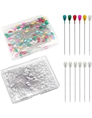 SAVITA 200 Pieces Long Teardrop Pearl Pins Straight Corsage Pins Sewing Pins Boutonniere Pins for Sewing Craft Wedding Decorations (White, Multicolor)