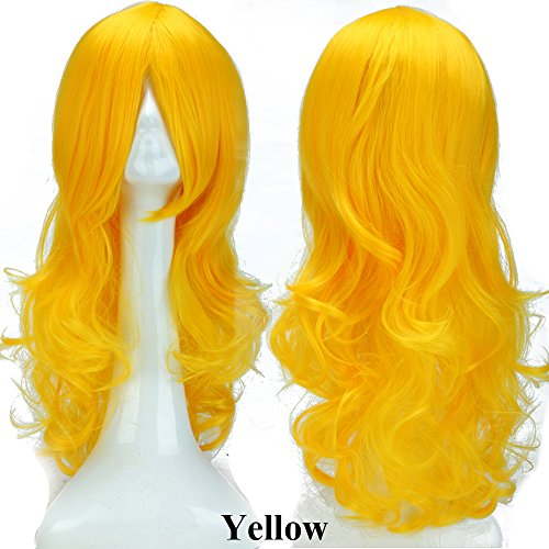 S-noilite 24inch(60cm) Women Cosplay Hair Wig Long Curly Wavy Fashion Anime Costume Party Dress Full Wigs Sexy -
