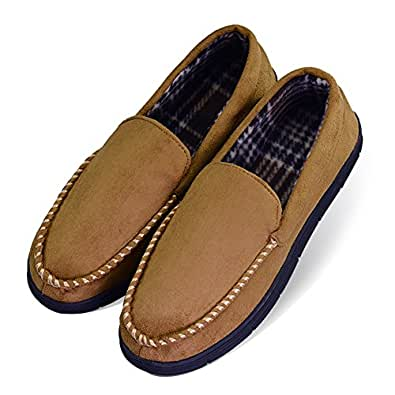 LA PLAGE Men's Non-Slip Indoor/Outdoor Microsuede Moccasin Shoes with Hardsole US 8-9 Beige