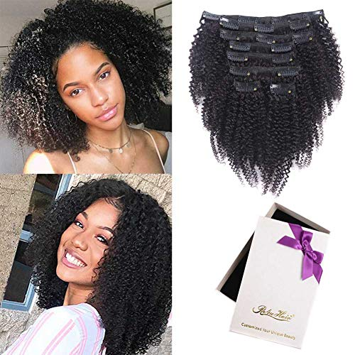 Afro Kinky Curly Clip In Human Hair Extensions,100% Virgin Hair Extensions African American 4C Kinky Curlys Clip in Extensions For Black Women (#1b natural color,128gram/set,10inch)