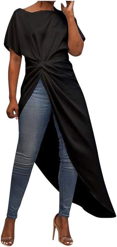 Vectry Camiseta Mujer Casual Blusa Asimétrica Camisa Plisada De Manga Corta Swallowtail Tops 2020 Moda Mujer Tops: Amazon.es: Ropa y accesorios