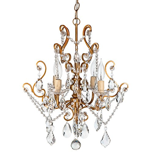 Theresa Vintage Gold Crystal Chandelier, Mini Plug-In Swag Glass Pendant 4 Light Wrought Iron Ceiling Lighting Fixture Lamp (Gold Mini Chandeliers Crystal)