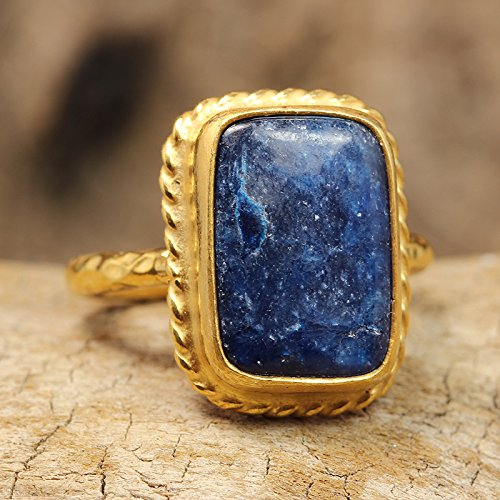 (Natural Blue Jade Ring 24K Yellow Gold Vermeil 925 Solid Sterling Silver Handcrafted Artisan Hammered Ancient Roman Art Designer Gemstone Ring)