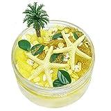 Trigle 80ML Slime Brushed Mud Mermaid Crystal Mud Starfish Coconut Tree DIY Slime Decompression Toy (Yellow)