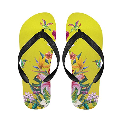 D-etasjers Vakre Blomster Med Hummingbird Flip Flops Strand Sandaler For Menn / Kvinner