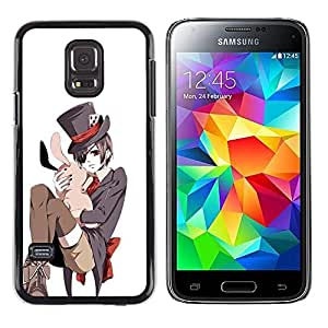 A-type Colorful Printed Hard Protective Back Case Cover Shell Skin for Samsung Galaxy S5 Mini / Samsung Galaxy S5 Mini Duos / SM-G800 !!!NOT S5 REGULAR! ( Japanese Bunny White Pink Top Hat )
