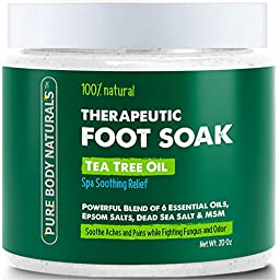 Foot Soak with Tea Tree Oil and Epsom Salt - 20 oz - Tea Tree Essential Oils Foot Bath Fights Fungus & Bacteria, Soothes Aches & Pains & Helps Soften Corns & Calluses