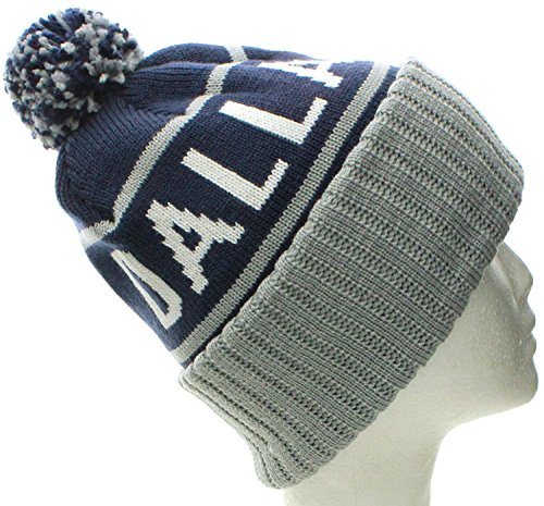 American Cities Dallas TX Champions Cuff Cable Knit Pom Pom Beanie Hat Cap  Dallas Navy Gray - Buy Online in Oman.  71679a0f9d9b