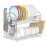 NEX 2-Tier Dish Drying Rack Dish Drainer for Kitchen Counter Top Stainless Steel with Cutting Board Utensil Holder