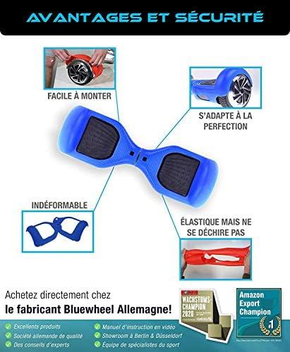 Bluewheel Housse de Protection en Silicone pour Gyropode, Coque protectrice Couleur Bleue, antidérapant, adaptée pour appareils DE 6,5 Pouces, gyropode, e-Balance, e-Scooter