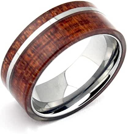 Men's Tungsten Bands Rings Hawaii Koa Wood Inlay 8mm Comfort Fit Unique Jewelry