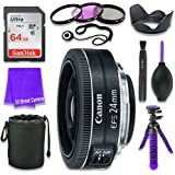 Canon EF-S 24mm f/2.8 STM Lens for Canon DSLR Cameras & SanDisk 64GB Class 10 Memory Card + Complete Accessory Kit (11 Items)