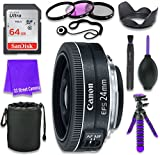 Canon EF-S 24mm f 2.8 STM Lens for Canon DSLR Cameras & SanDisk 64GB Class 10 Memory Card + Complete Accessory Kit (11 Items)