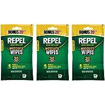 Repel 94100 Sportsmen 30-Percent Deet Mosquito Repellent Wipes, 3 Packs of 20 Count - 60 Total!