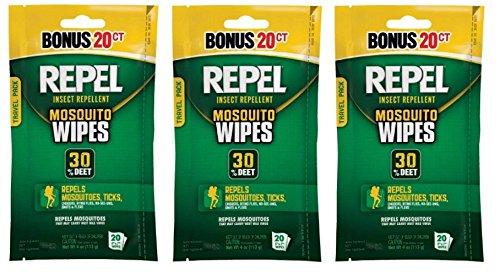 Repel 94100 Sportsmen 30-Percent Deet Mosquito Repellent Wipes, 3 Packs of 20 Count - 60 Total! -