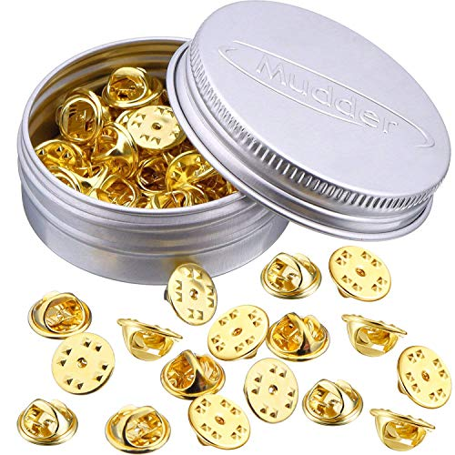 Brass Butterfly Clutch Badge Insignia Clutches Pin Backs Replacement (Gold, 50 Pieces)