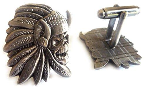 Indian Chief Skull Skeleton Biker Motorcycle Suit Tuxedo Cufflinks Cuff Links ()