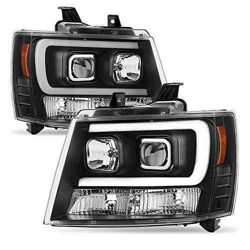 Xtune 2007-2014 Suburban/Tahoe Black Projector Headlights w/DRL-Light-Tube Built-in 2008 2009 2010 2011 2012 2013 Pair L+R