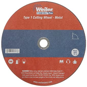 "Weiler Tiger 5/8"" Arbor, 1/16"" Thickness, 7"" Diameter, A36T Grit, Type 1 Reinforced Cut-Off Wheel"