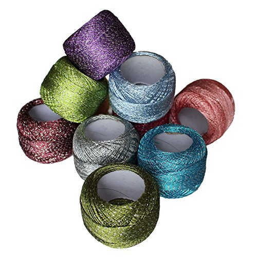 10 x Sparkly Colourful Glitter Cotton Crochet Thread Set by Curtzy - 92.95 Yards Crafts Knitting Yarn Lace Flowers Skein Skeins Balls - 929.50 Yards Total - Ideal for Beginners or Crochet (Cotton Yarn Lace)