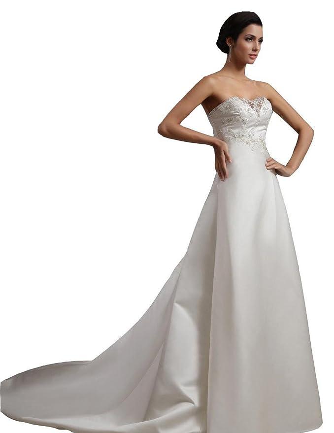 winey novia mujer satén a-line Capilla tren sencilla barato vestidos de novia: Amazon.es: Ropa y accesorios