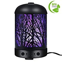 COOSA 100ml Essential Oil Diffuser Enchanted Forest Pattern with 7 LED Light 4 Time Setting Metal Cover Waterless Auto-Off Ultrasonic Aromatherapy Cool Aroma Mist Humidifier for Home Office Bedroom HolidayGift (Black)