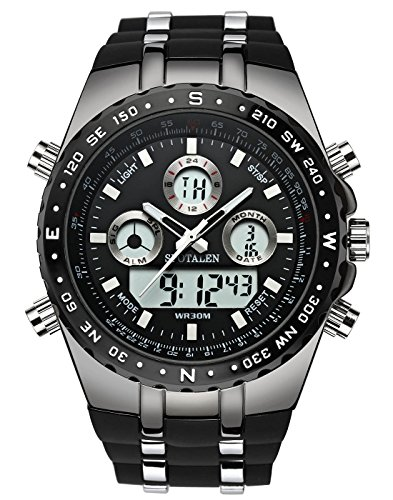SPOTALEN Sports Men's Watch, Digital Analog Military Multi-functional Watch with LED Backlight
